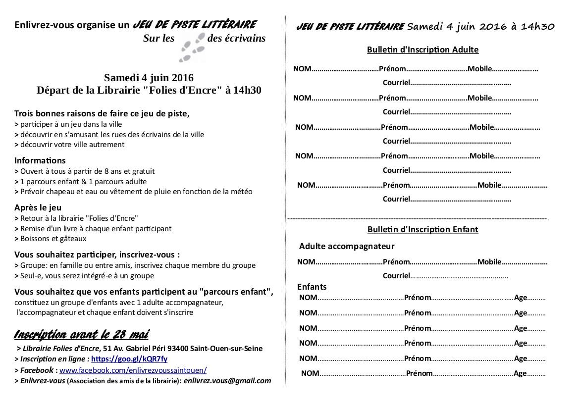 Samedi 4 juin : jeu de piste littéraire ! « Accueil « Librairie Folies d'Encre & l'association ...
